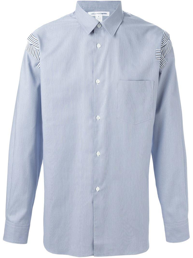 lyst comme des gar ons shoulder patch shirt in blue for men. Black Bedroom Furniture Sets. Home Design Ideas