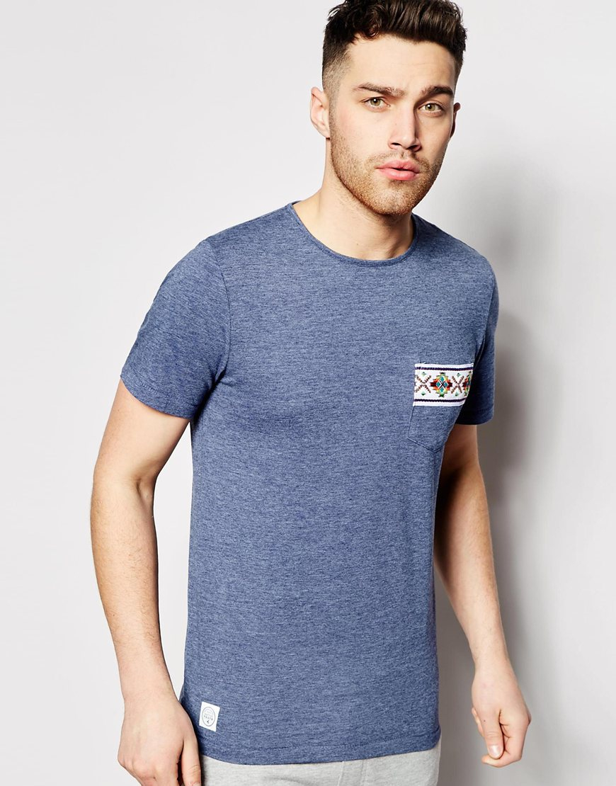 a05207a610f Lyst - Native Youth T-Shirt With Aztec Tape Pocket in Blue for Men