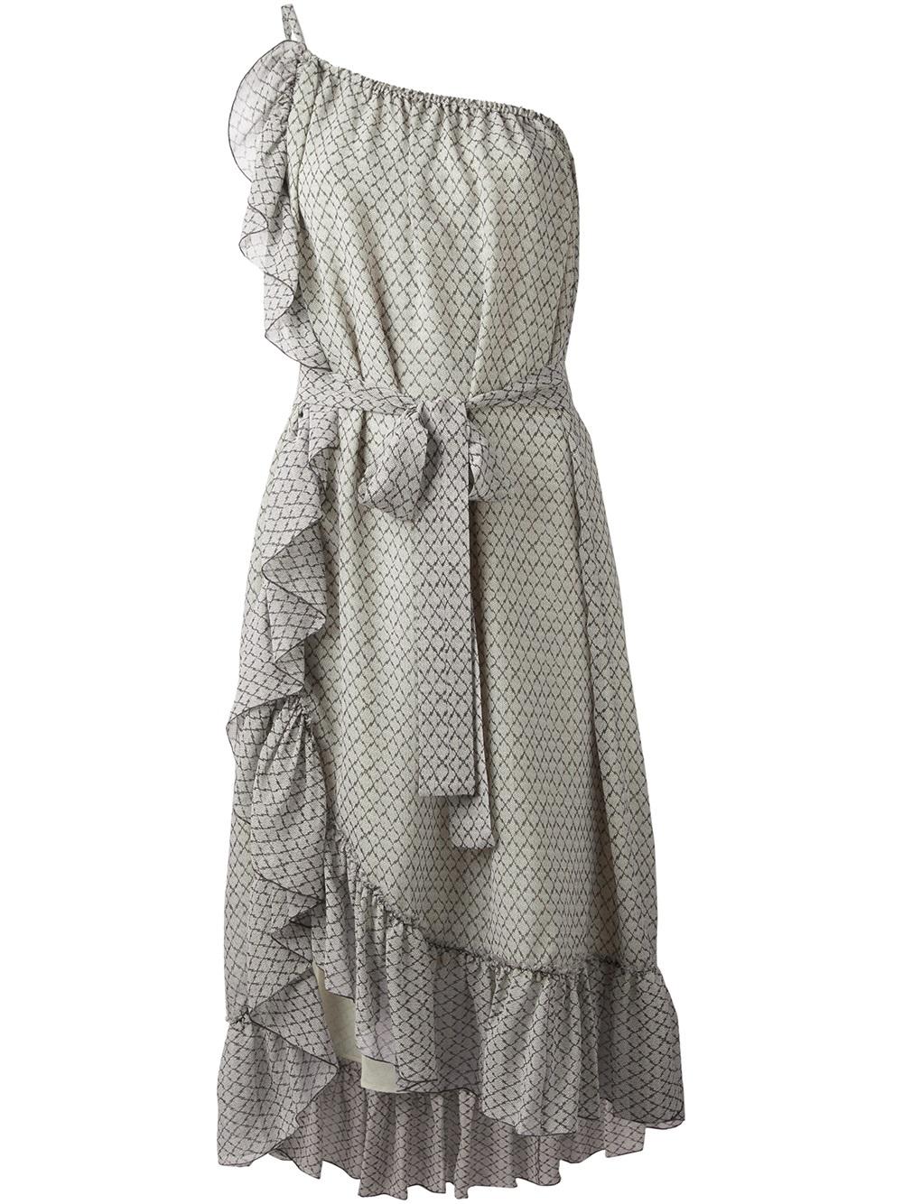 Isabel marant aiden dress in gray white lyst for Isabel marant shirt dress