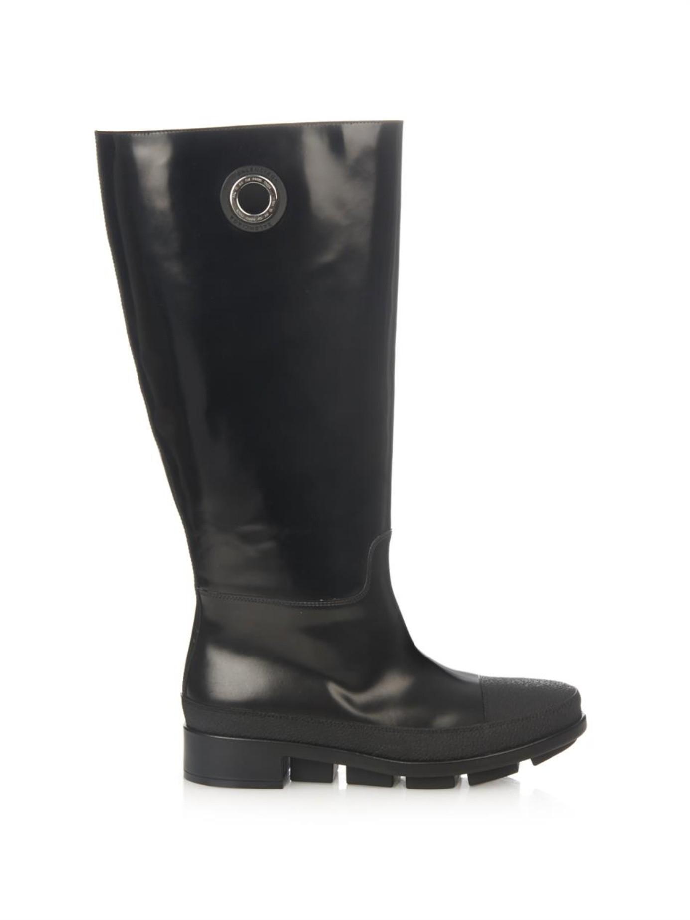 Balenciaga River Leather Rain Boots in Black | Lyst