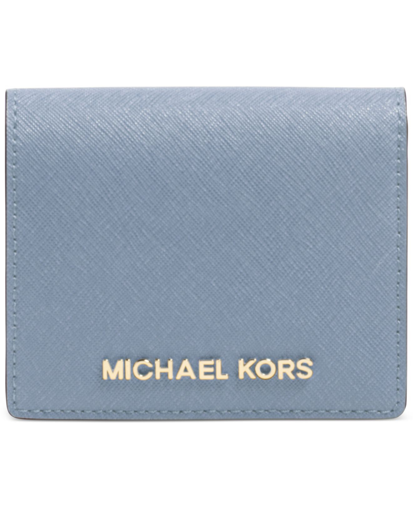 953d3305e89c9 Lyst - Michael Kors Michael Jet Set Travel Flap Card Holder in Blue