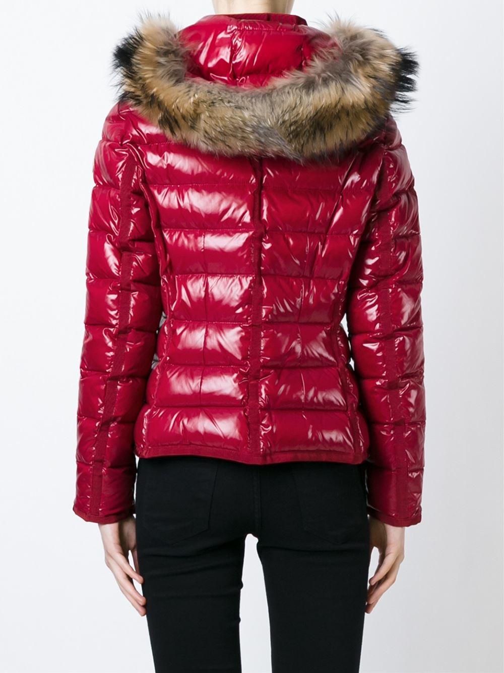 Red Moncler Jacket Fur Hood