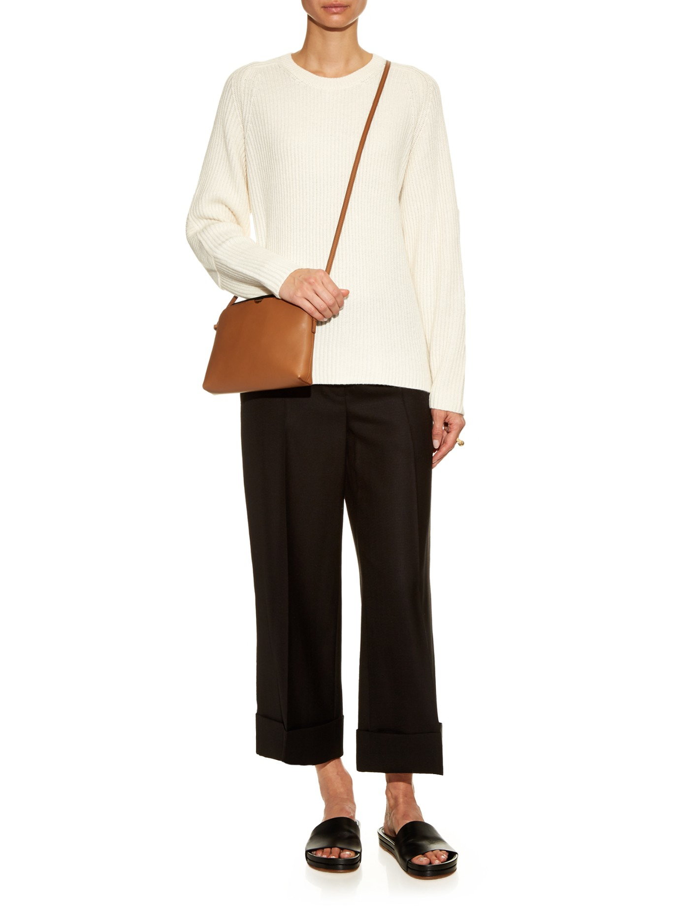 f9d919122 The Row Multi-pouch Leather Cross-body Bag in Brown - Lyst