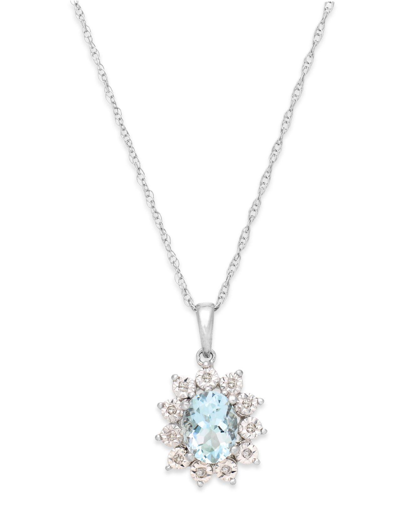 macy s aquamarine 1 ct t w and accent pendant