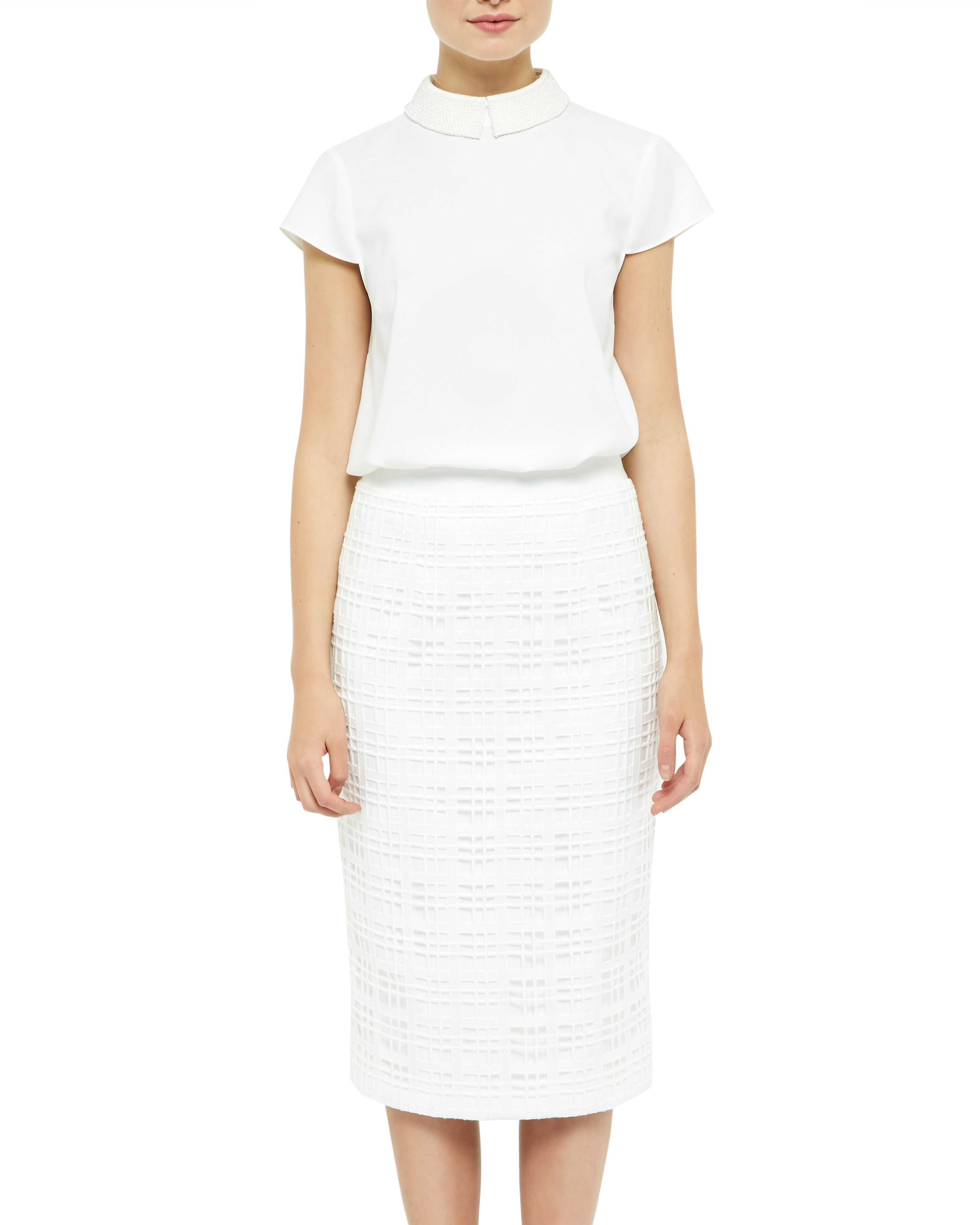 Ted baker Geometric Lace Midi Skirt in White   Lyst