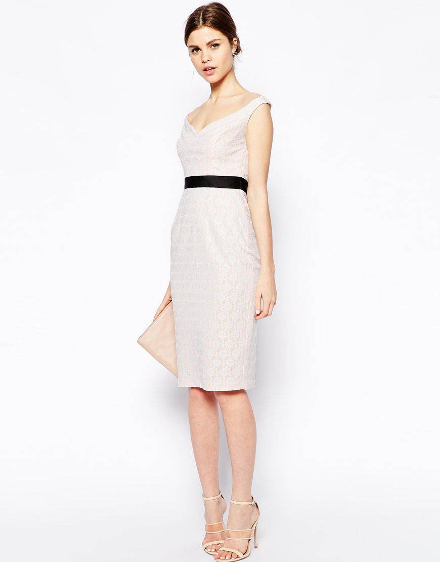 Lyst - Asos Bow Back Lace Pencil Dress in Pink
