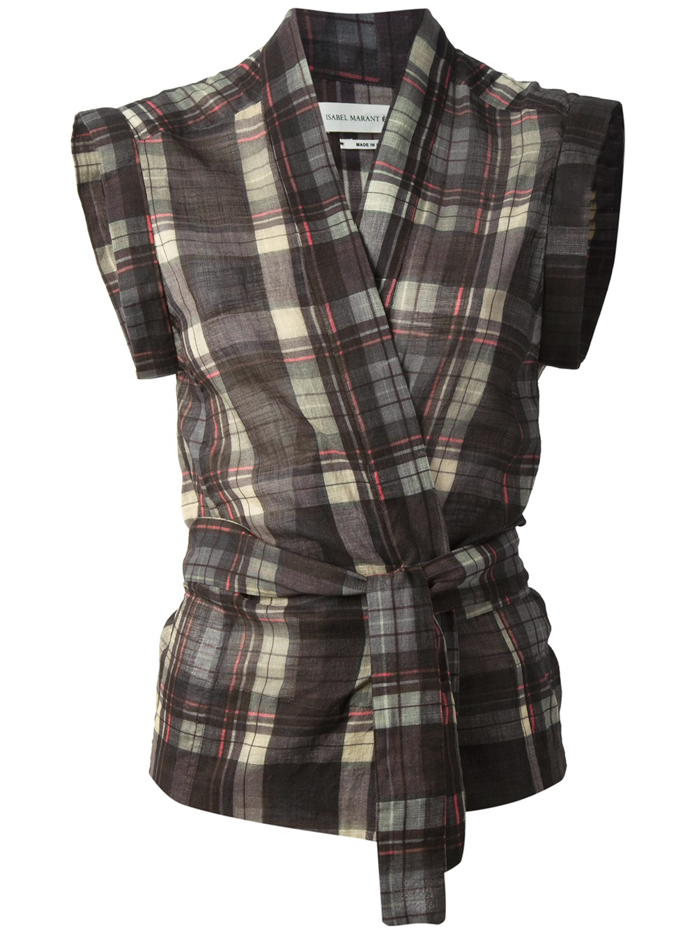 toile isabel marant plaid shirt in green lyst. Black Bedroom Furniture Sets. Home Design Ideas