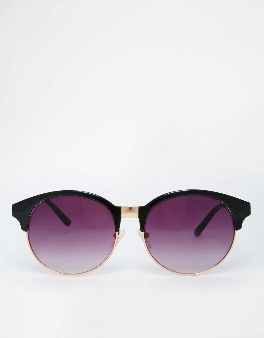 Half Frame Round Eyeglasses : Asos Half Frame Round Sunglasses in Black Lyst