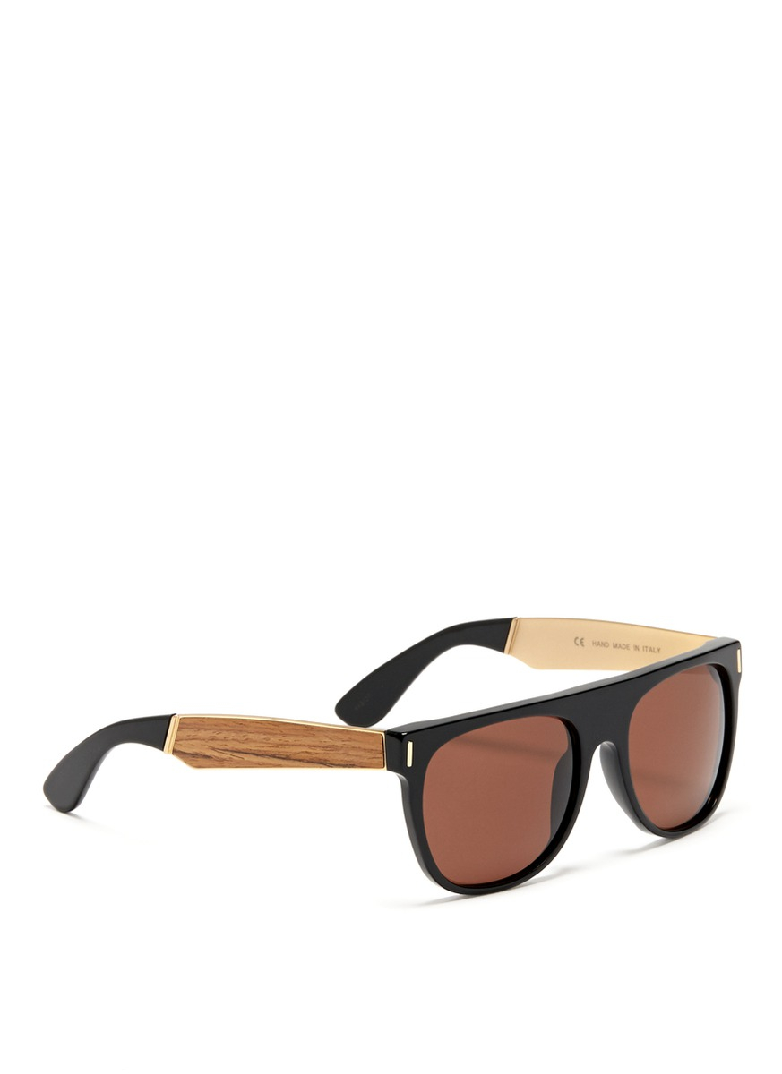 d69e1c337cc3 Retrosuperfuture Flat Top Francis Wood Arm Sunglasses in Black for ...