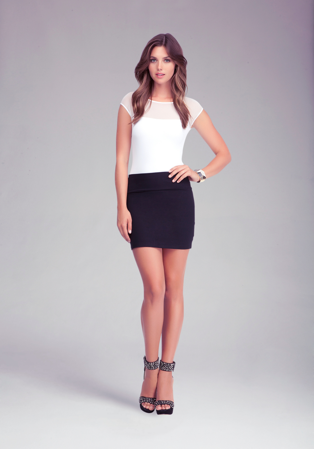 lyst bebe high waist mini skirt in black