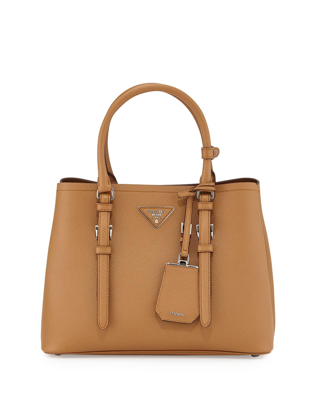 072ce9877cbdf3 Prada Saffiano Cuir Covered-Strap Double Bag in Brown - Lyst