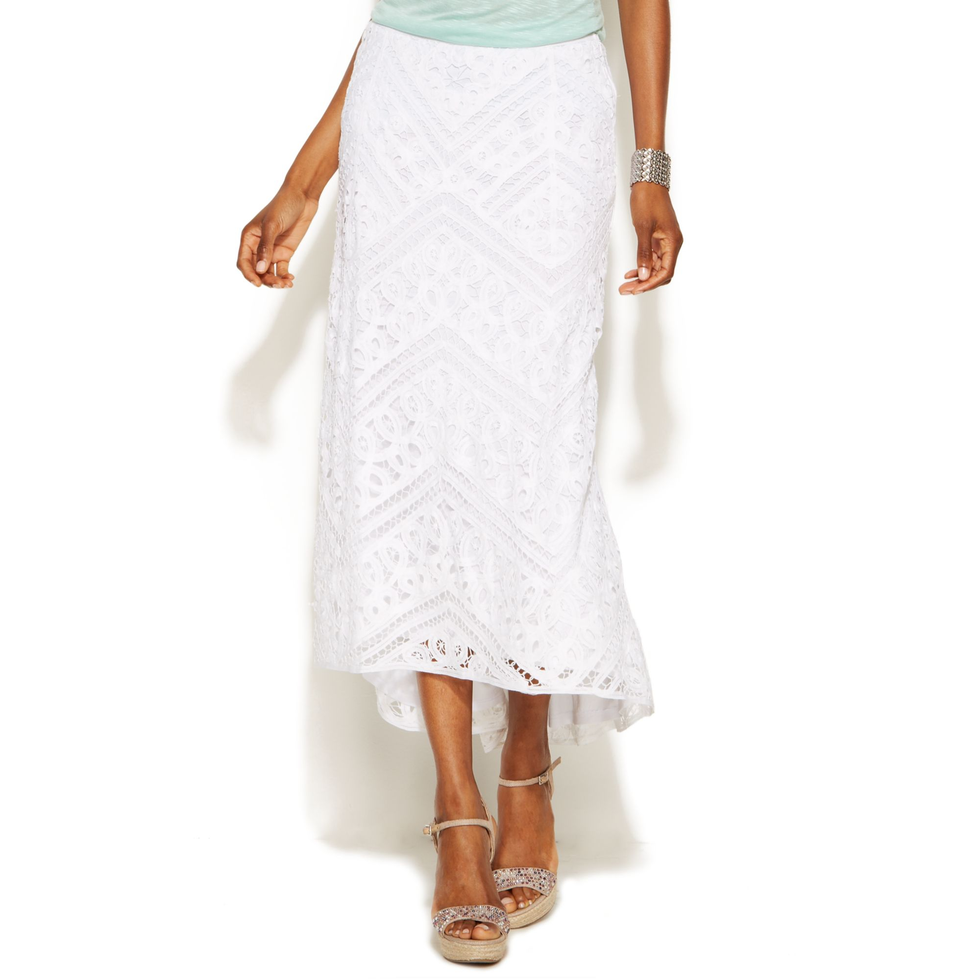 inc international concepts lace high low maxi skirt in