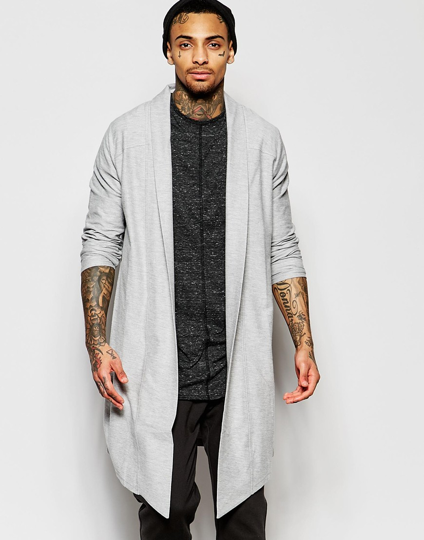 Asos Extreme Longline Textured Jersey Cardigan In Grey in Gray for ...