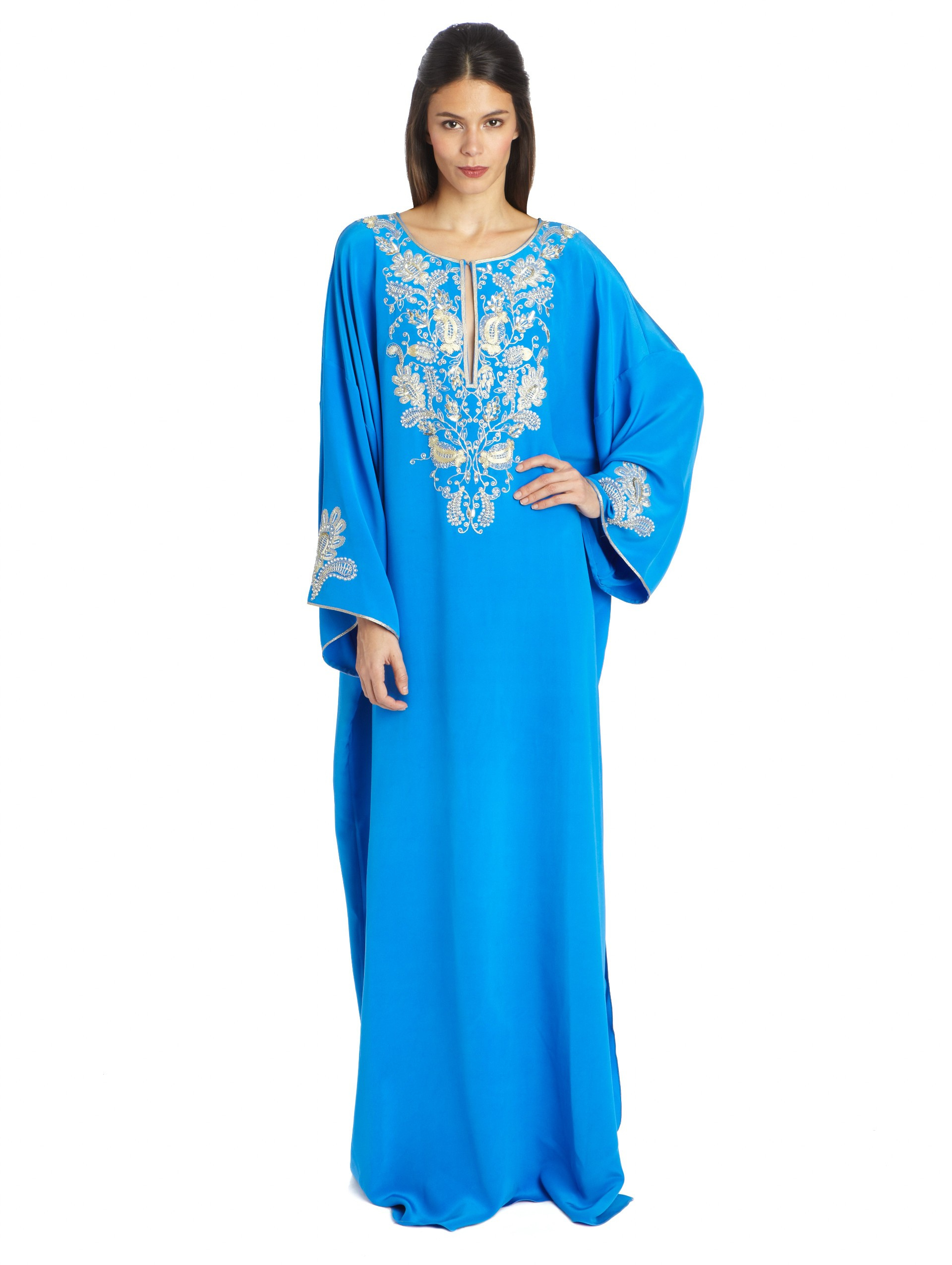 5bf0faac6a Lyst - Oscar de la Renta Long-Sleeve Embroidered Caftan in Blue