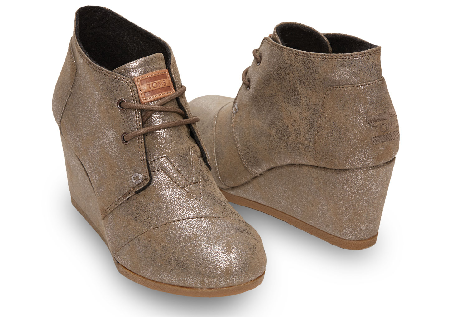 c9a48e459e0 Lyst - TOMS Desert Lace-up Wedge Bootie in Metallic