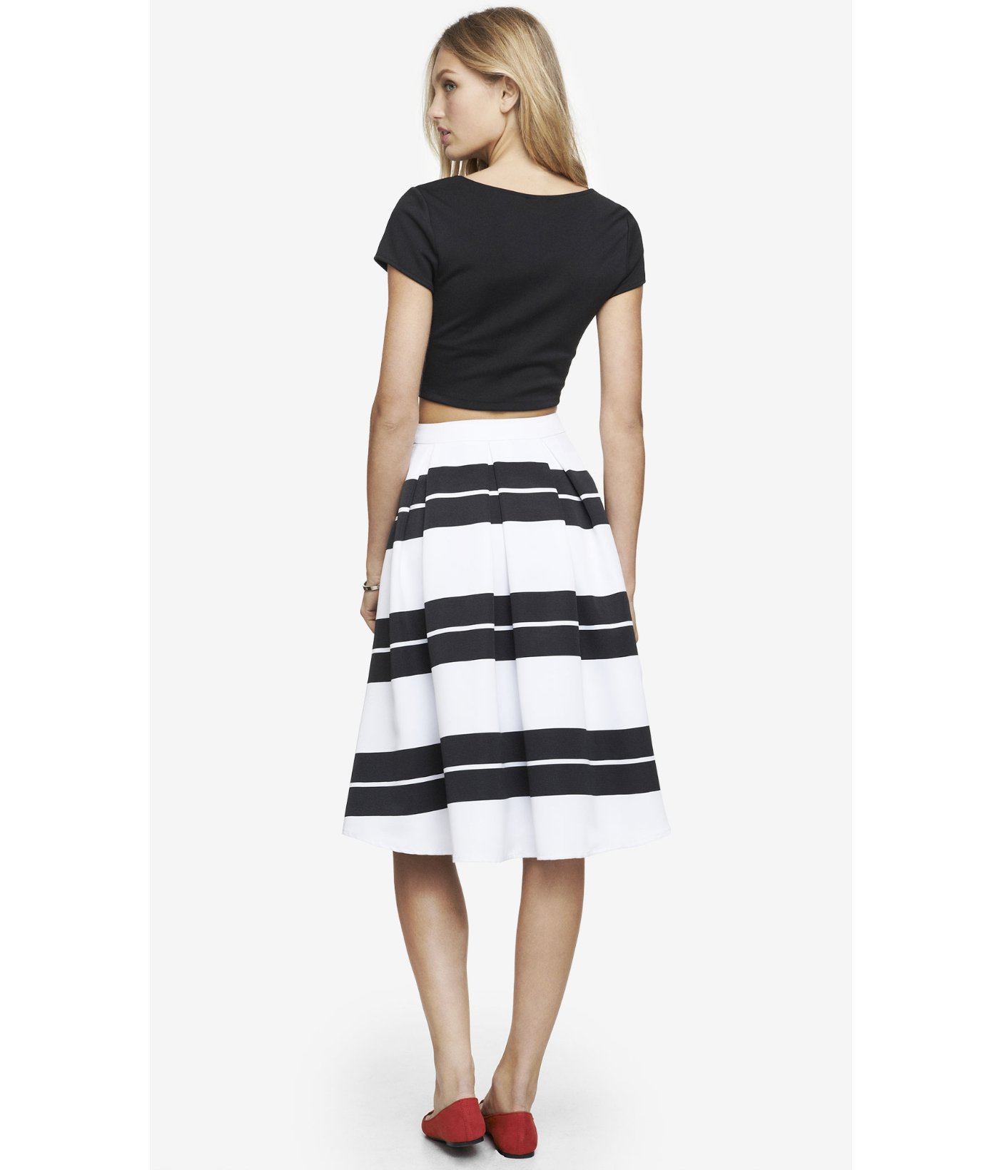 Express High Waist Striped Full Midi Skirt in Black | Lyst