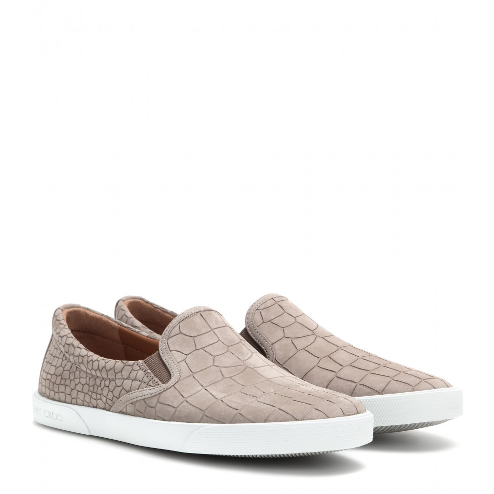 ddd15895f20 Lyst - Jimmy Choo Demi Embossed Leather Slip-On Sneakers in Brown