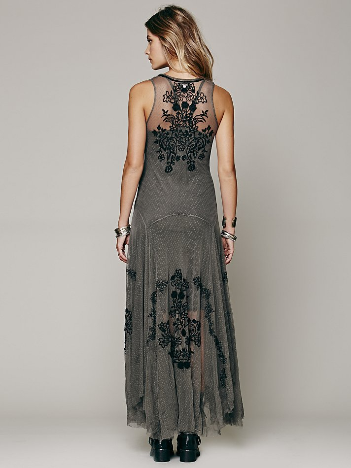 Lyst Free People Darya Mesh Embroidered Maxi In Gray