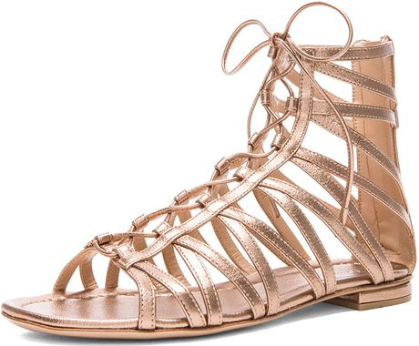 Gianvito Rossi Gladiator Metallic Leather Sandals In Gold