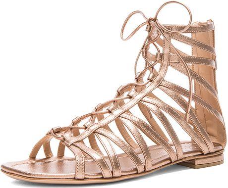 Gianvito Rossi Gladiator Metallic Leather Sandals In Gold