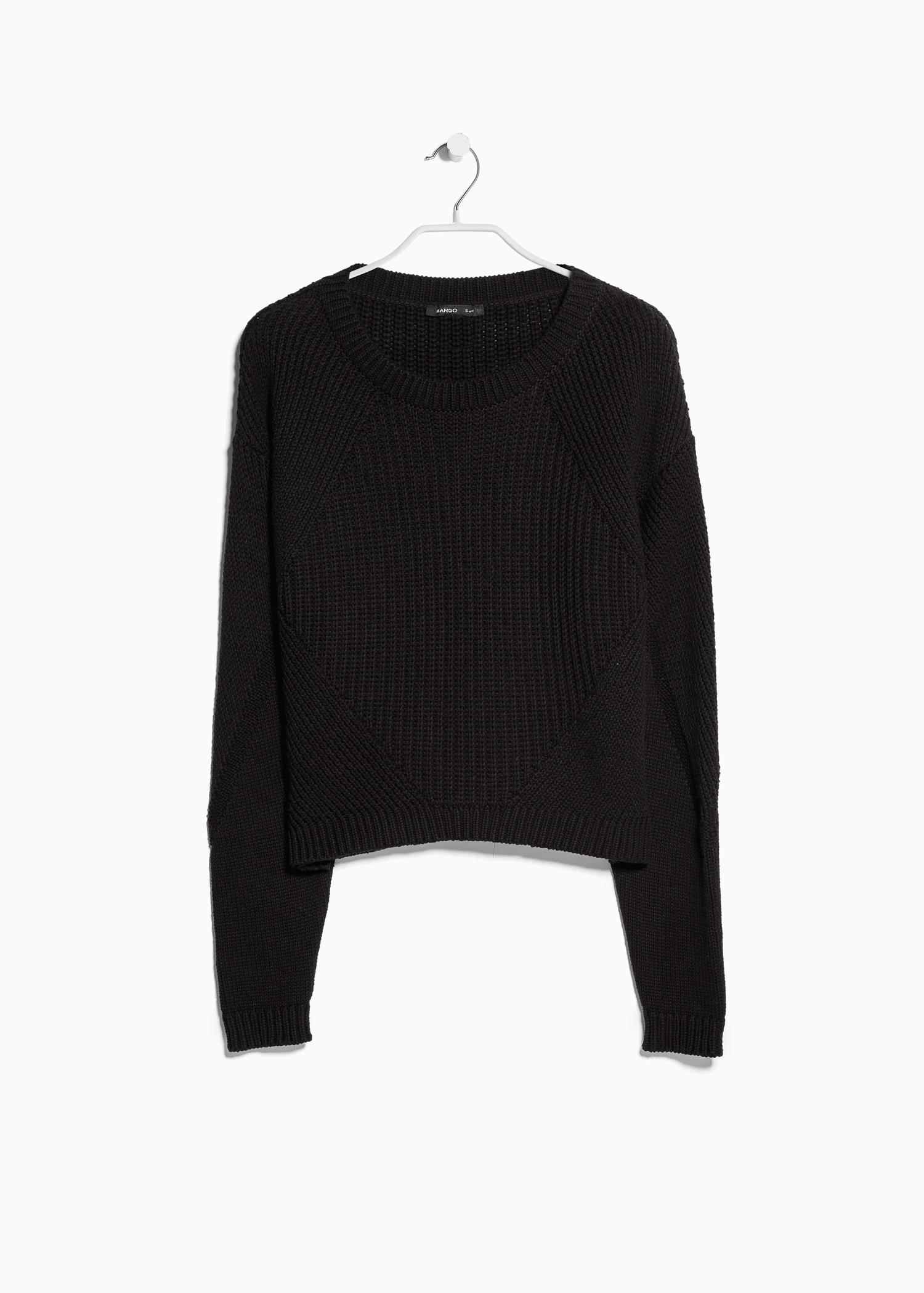 59cb95434e Lyst - Mango Chunky-Knit Sweater in Black