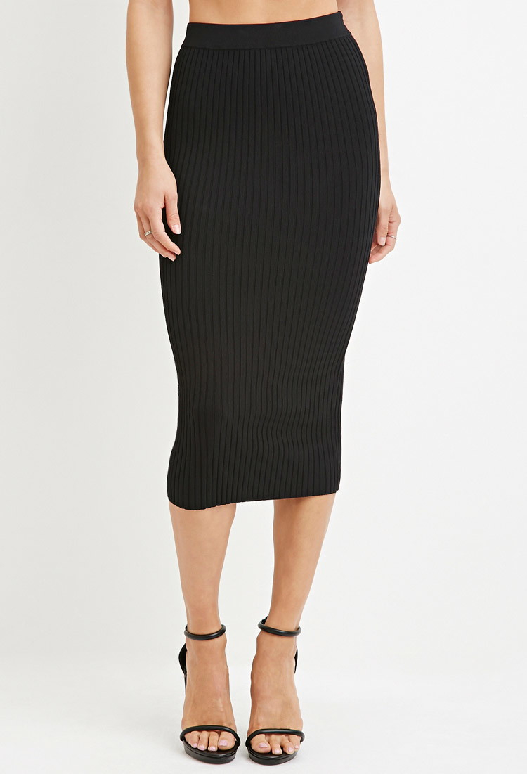 Forever 21 Contemporary Ribbed Knit Pencil Skirt in Black ...