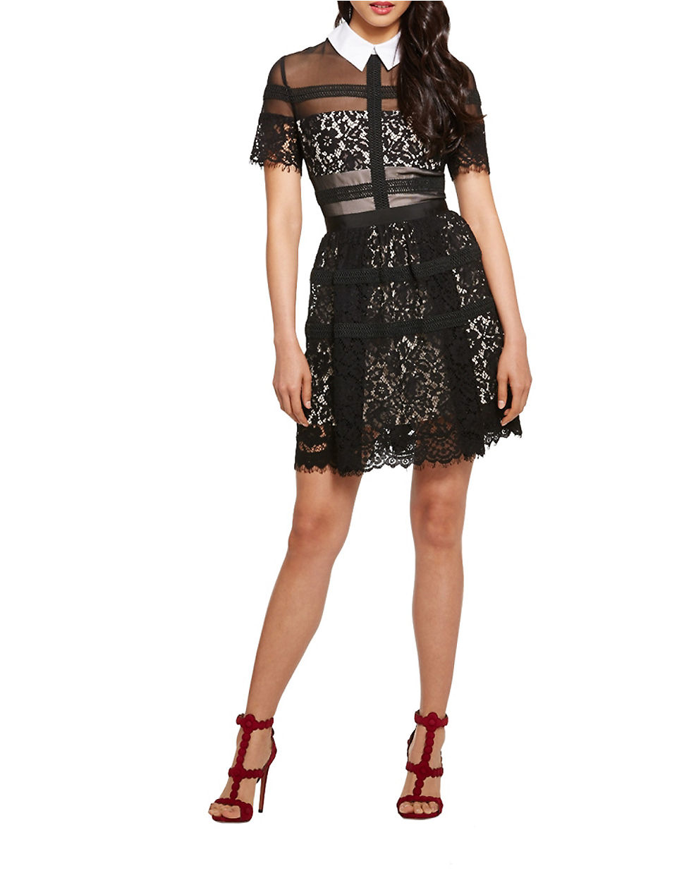 Donna morgan Collared A-line Lace Dress in Black - Lyst