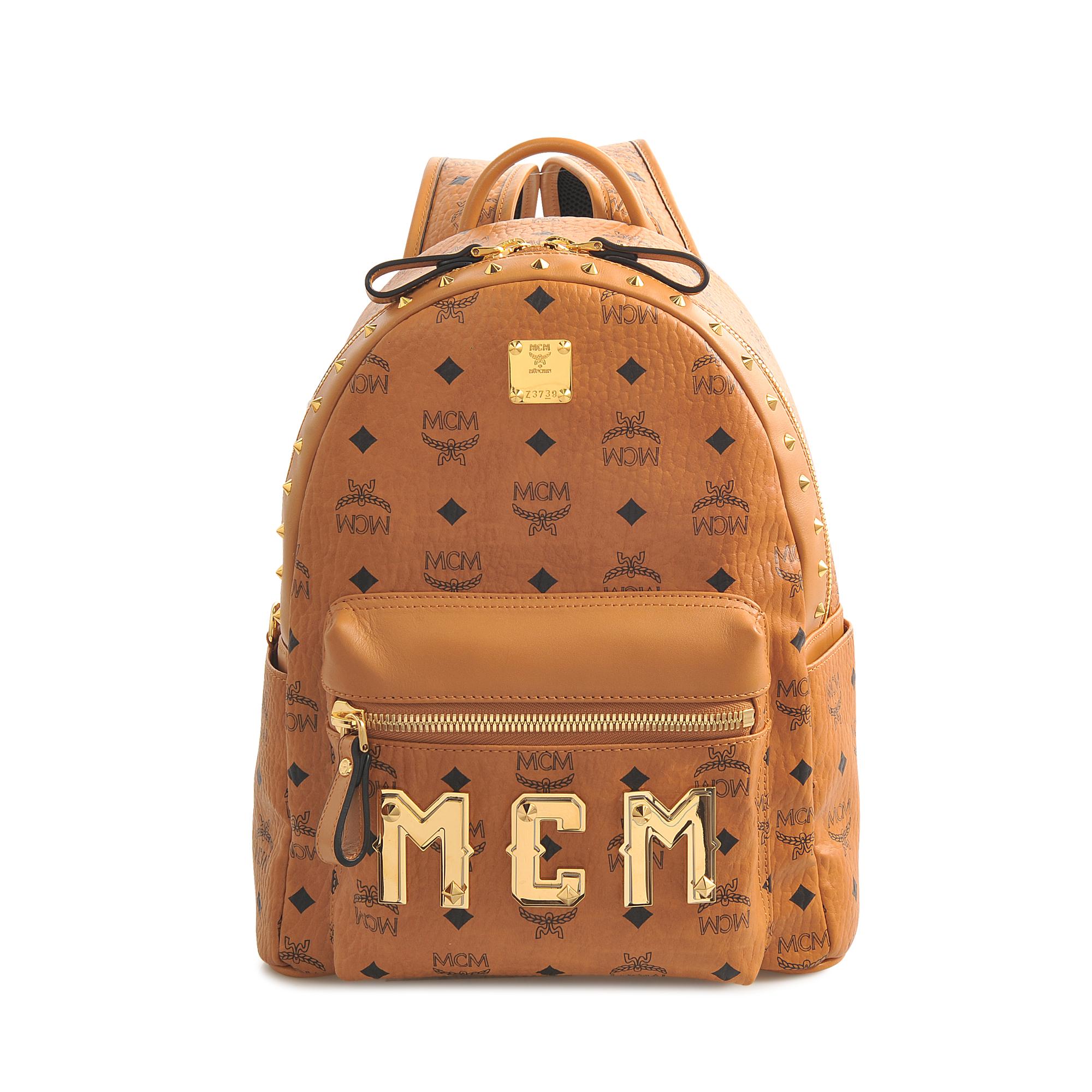 mcm stark m small backpack in orange lyst. Black Bedroom Furniture Sets. Home Design Ideas
