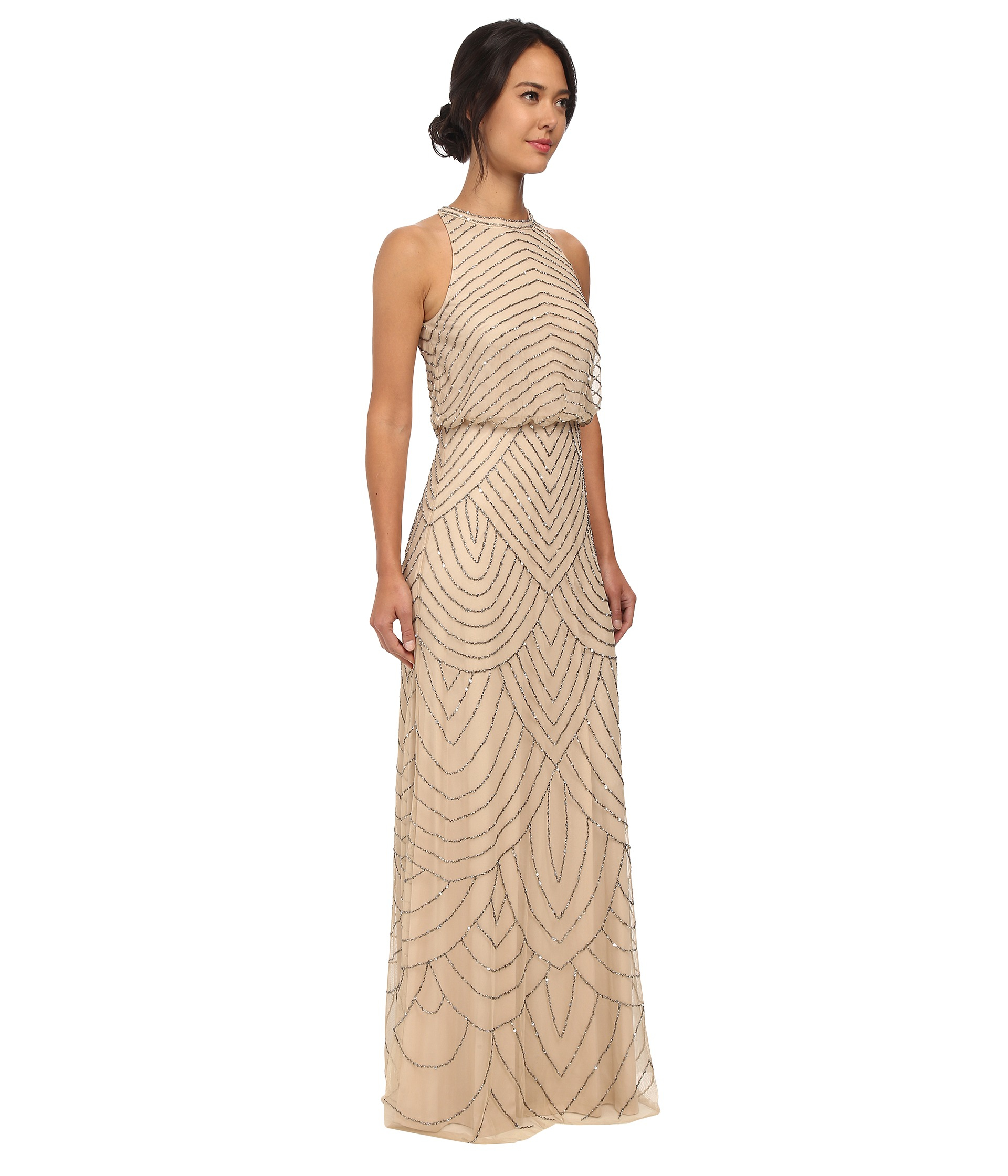 Lyst - Adrianna Papell Beaded Halter Gown in Natural