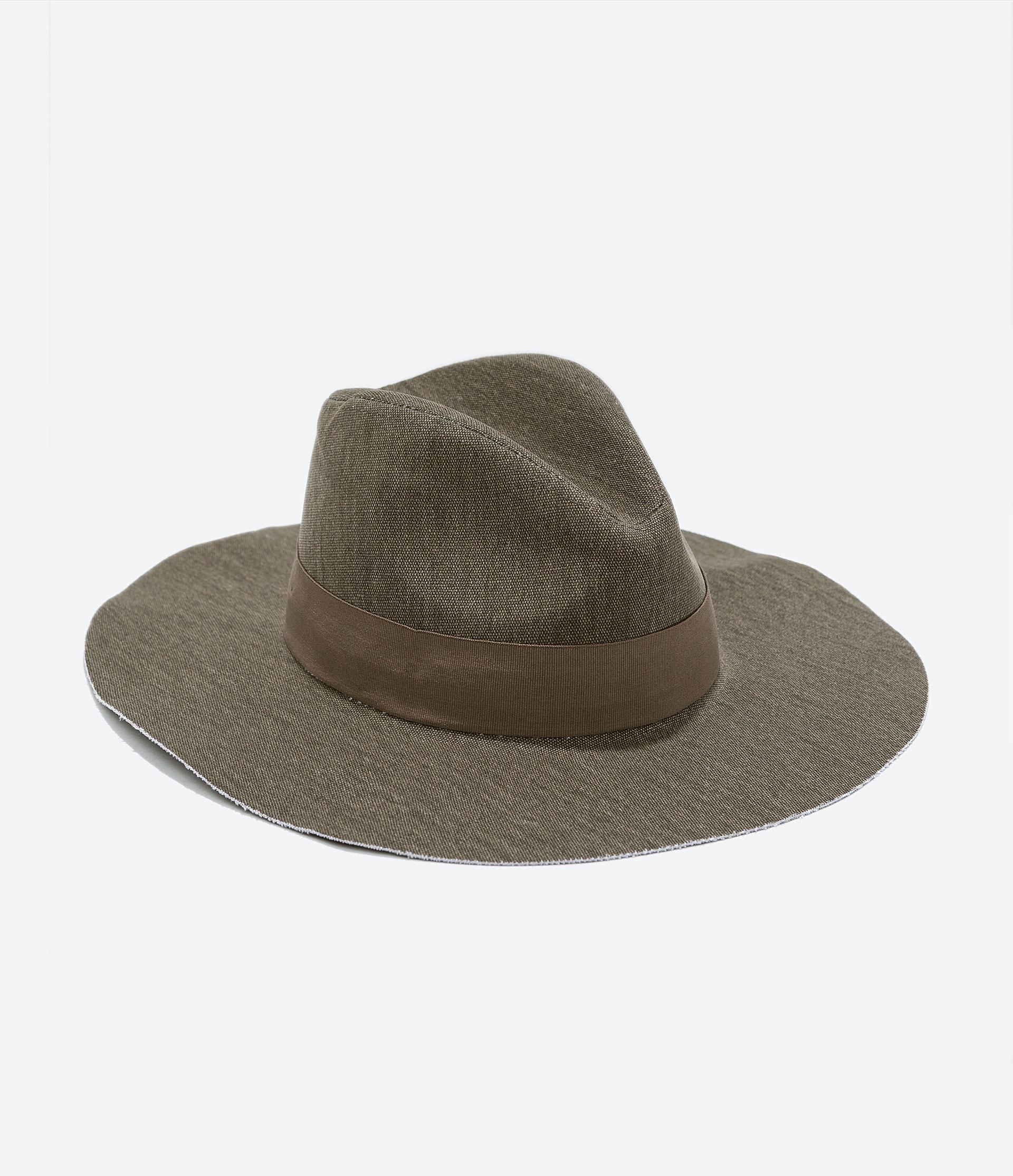 zara canvas wide brimmed hat in green lyst