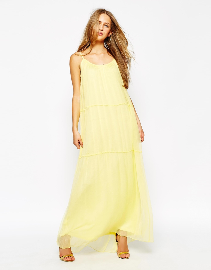 Lyst Mango Chiffon Maxi Dress In Yellow