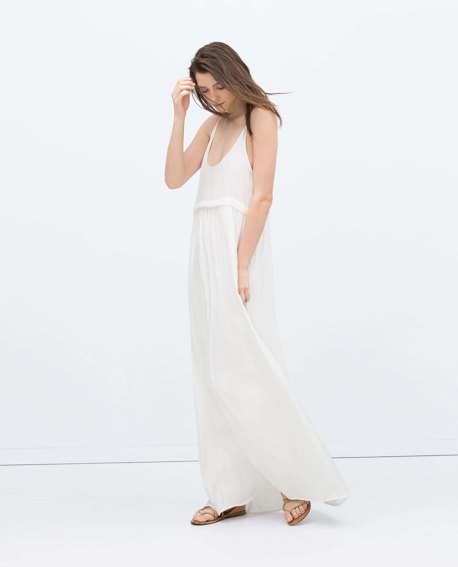 Zara Long Flowing Dress in White | Lyst