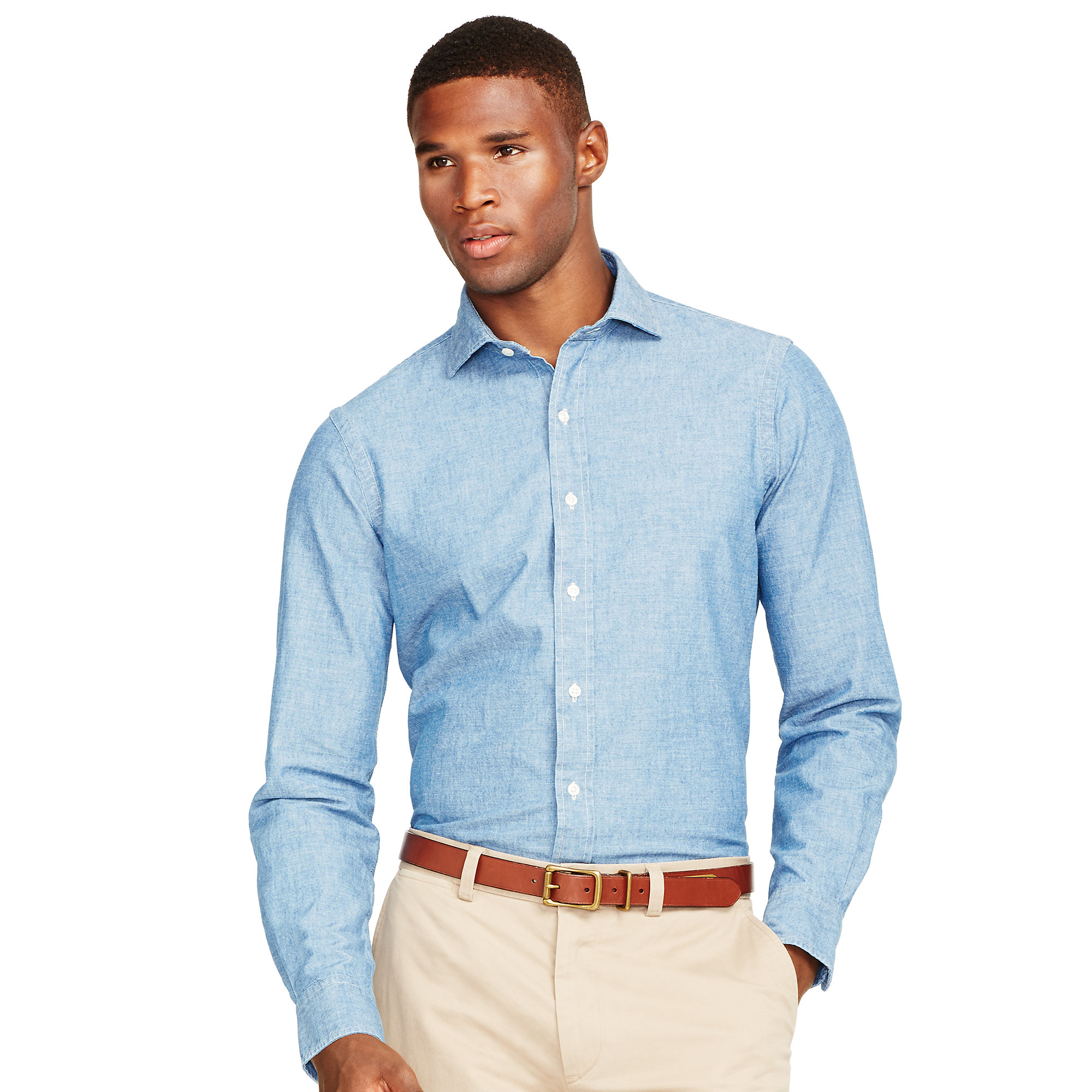 polo ralph lauren estate cotton chambray shirt in blue for men indigo chambray lyst. Black Bedroom Furniture Sets. Home Design Ideas