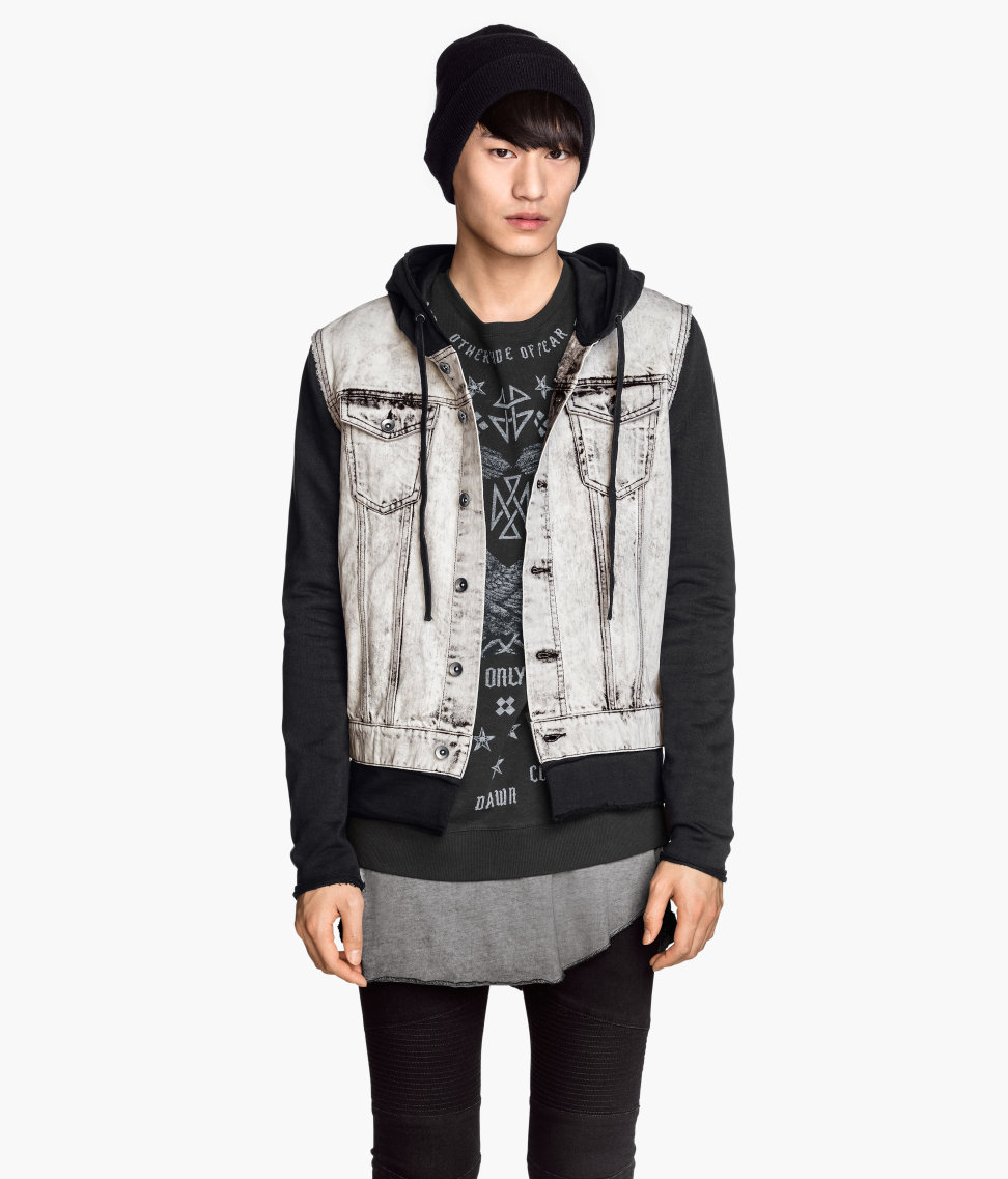 Hu0026m Denim Jacket With A Hood In Black For Men | Lyst