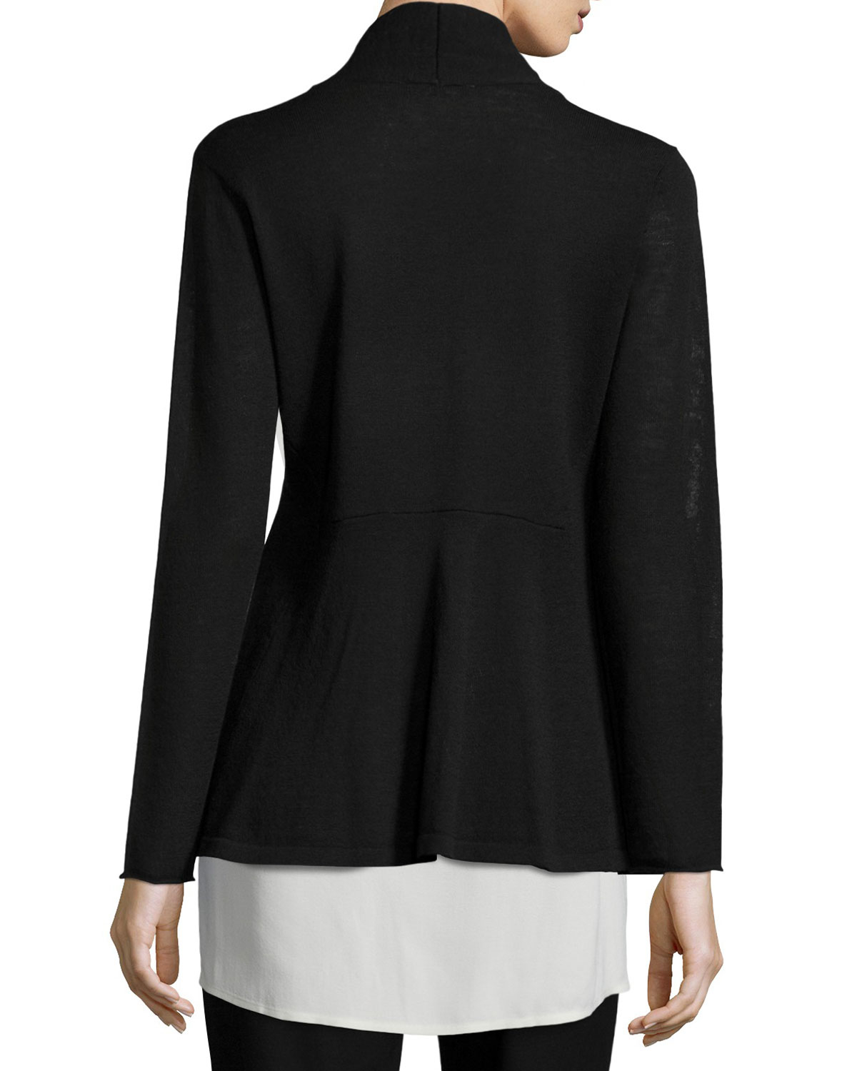 Eileen fisher Washable Wool Crepe Cardigan in Black | Lyst