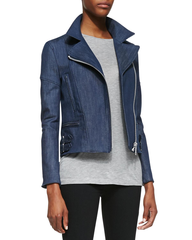Lyst Victoria Beckham Joan Denim Biker Jacket In Blue