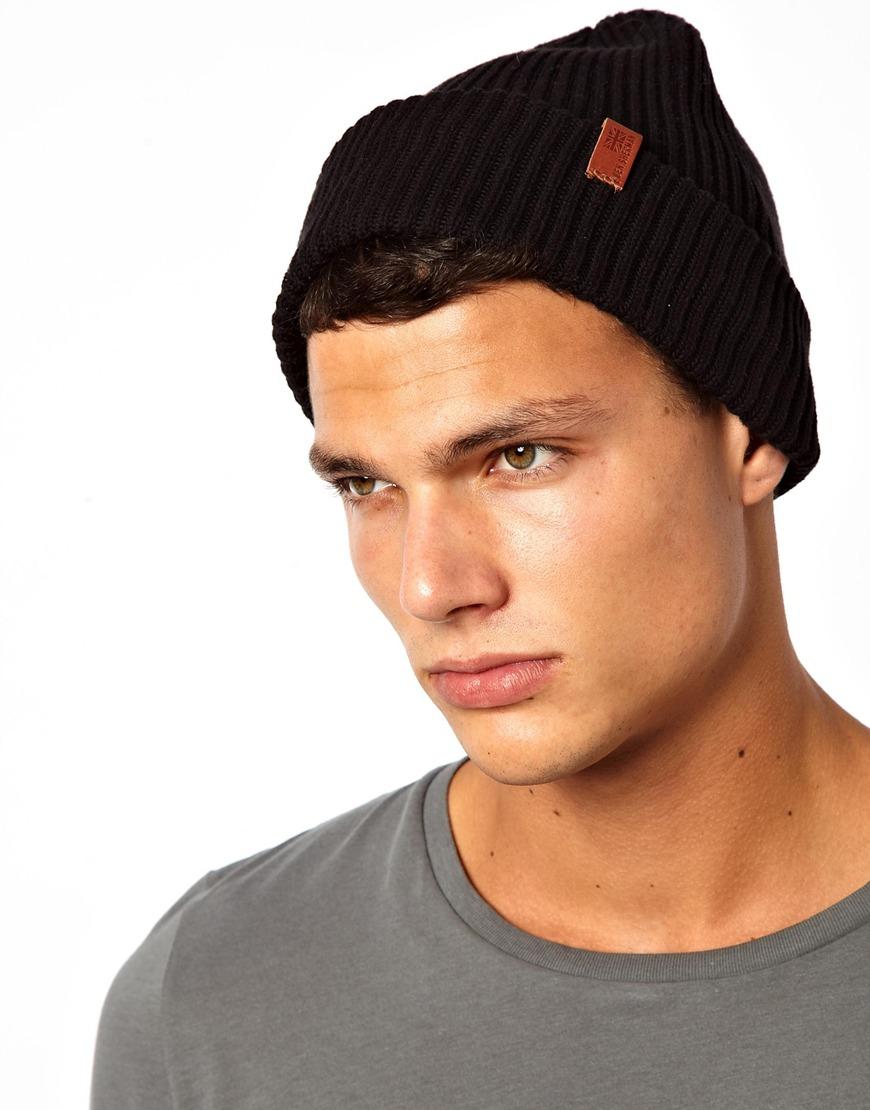 c619dfa60b0 Lyst - Ben Sherman Ribbed Beanie Hat in Black for Men