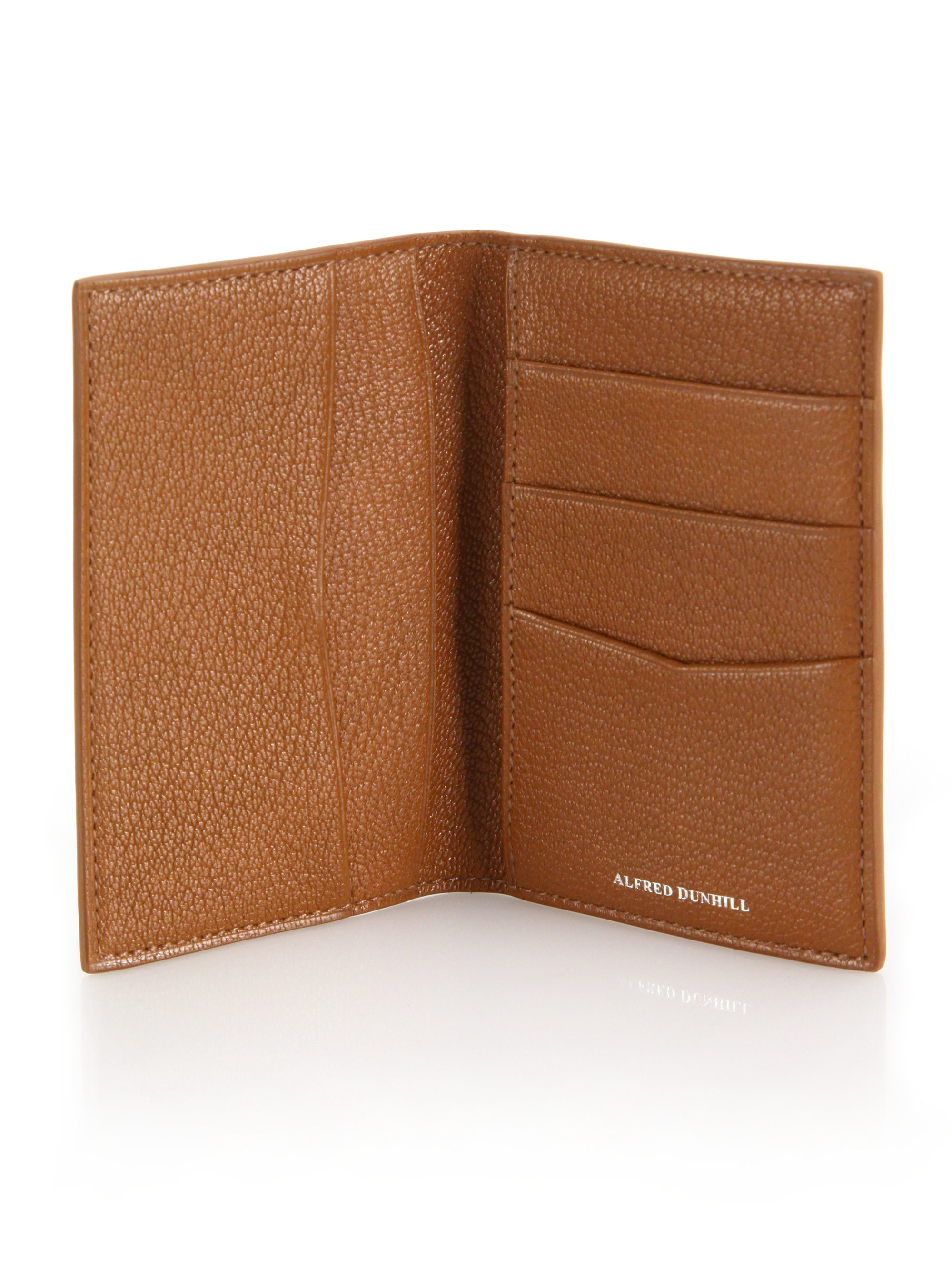 Lyst - Dunhill Textured Leather Business Card Holder in Brown for Men