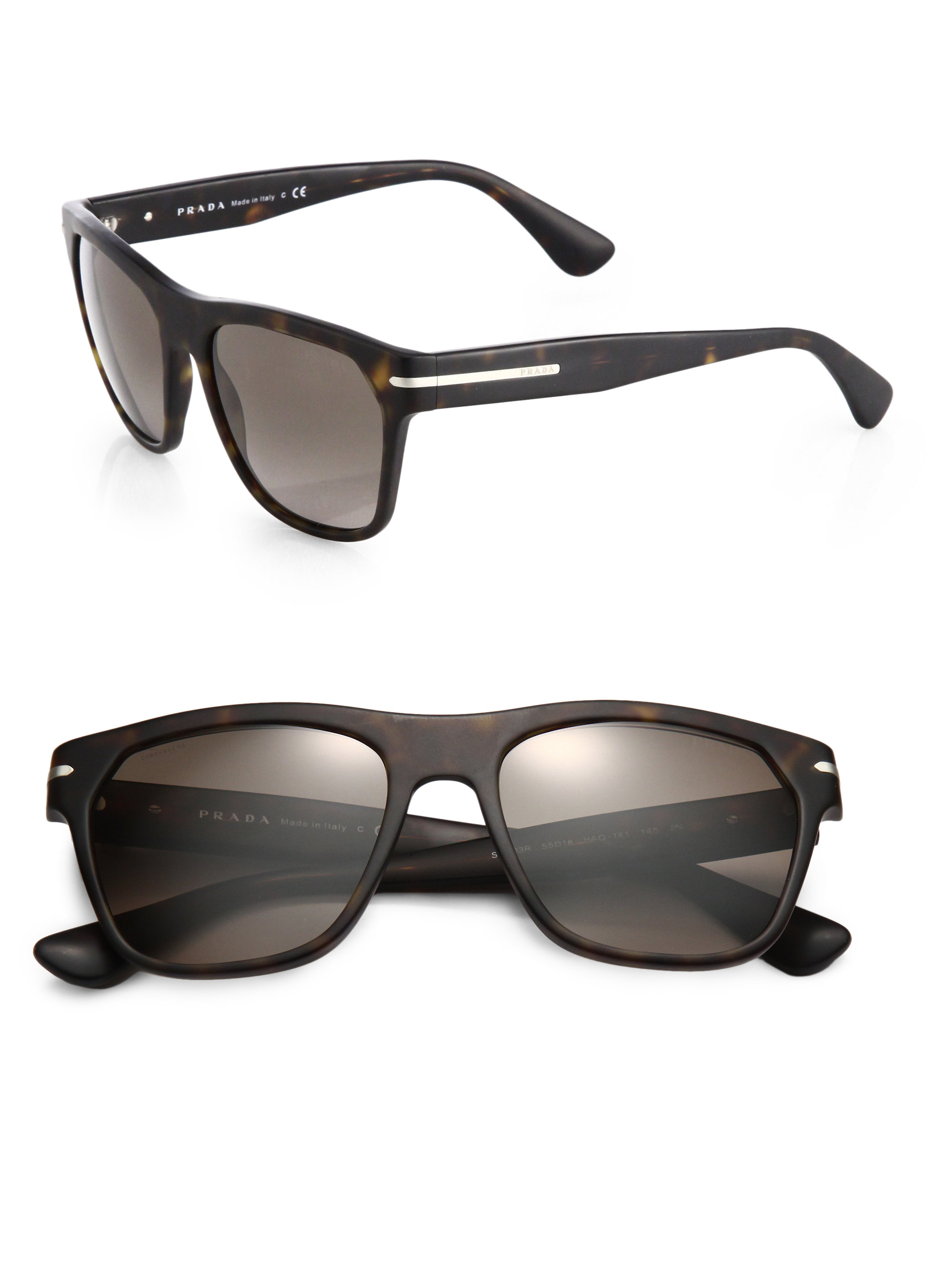 ae3e7ac36f1f ... best lyst prada 55mm acetate wayfarer sunglasses in brown 24c0f 5828c