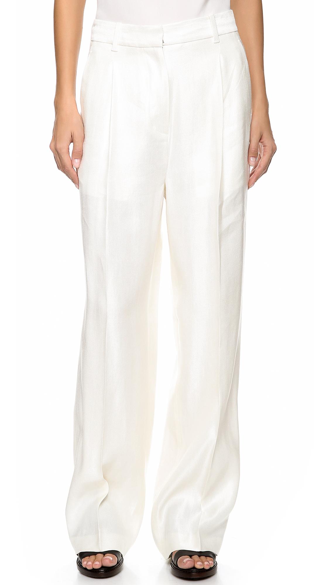 3 1 Phillip Lim High Waist Wide Leg Pants Cream In White