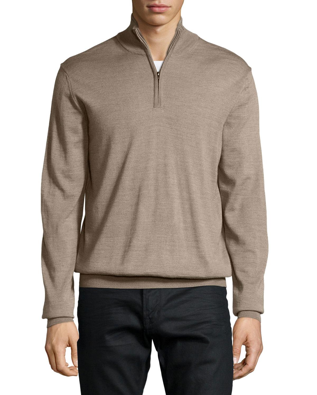 Neiman Marcus Half-zip Wool-blend Sweater Cardigan For Men | Lyst
