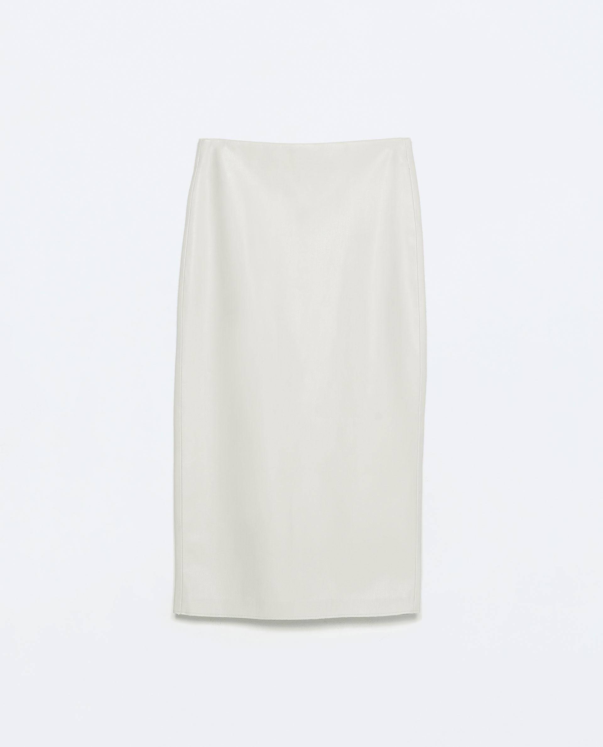 zara faux leather midi pencil skirt in white lyst