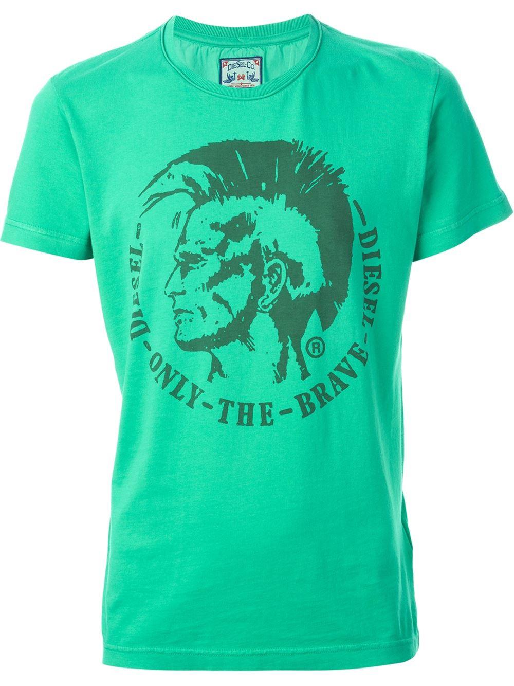 Diesel 't-achell' T-shirt in Green for Men | Lyst