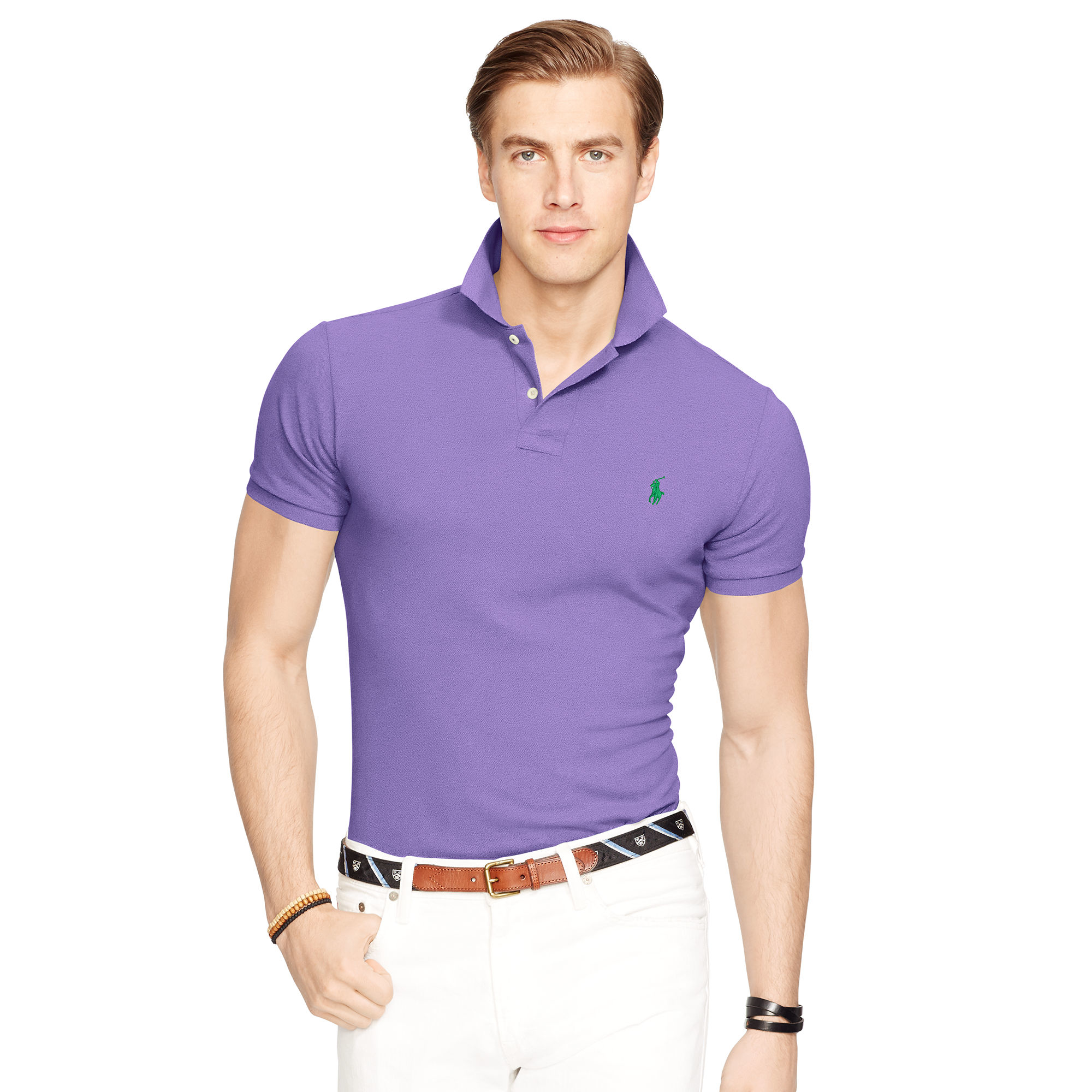 Lyst polo ralph lauren slim fit mesh polo shirt in Man in polo shirt
