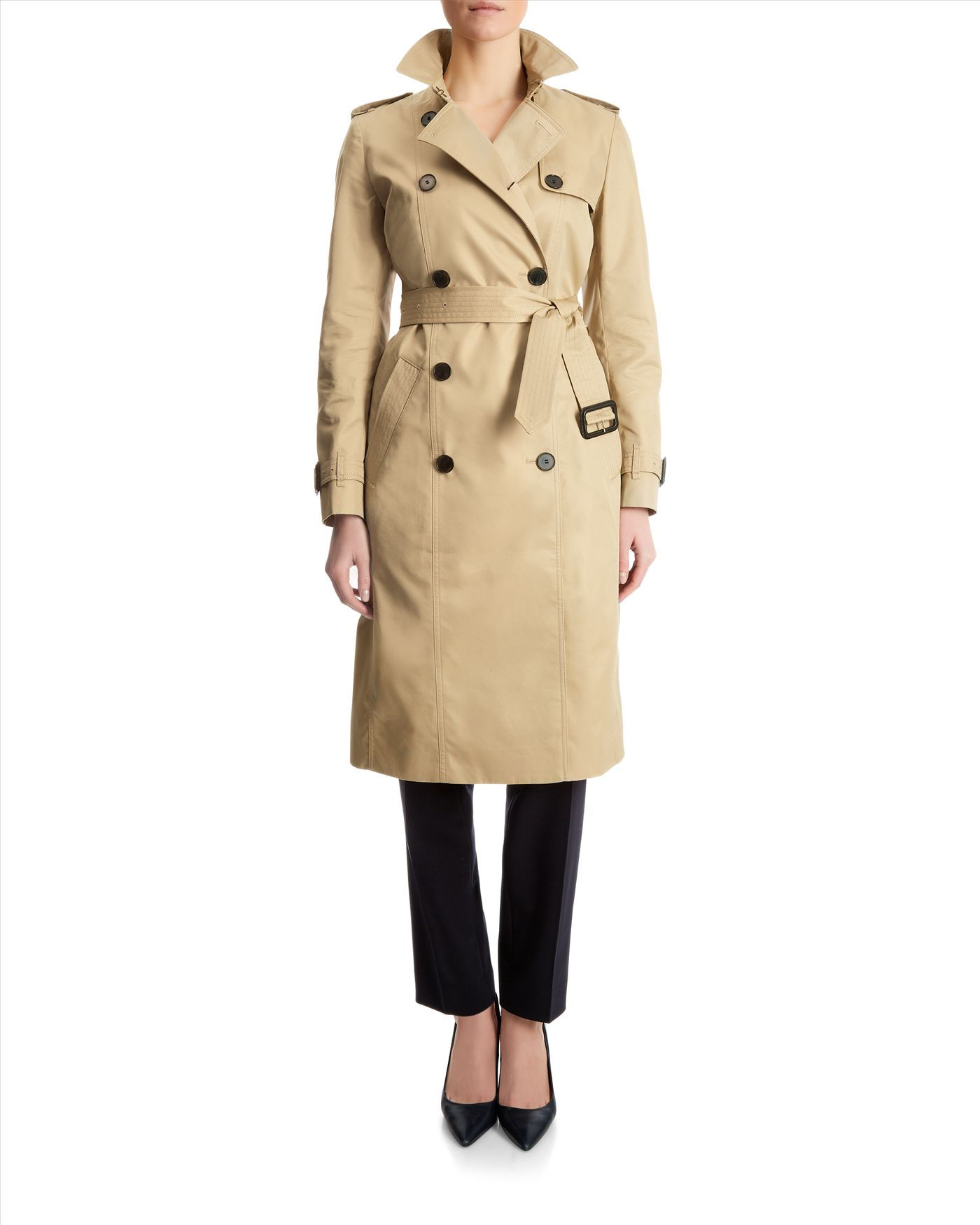 diversified in packaging 60% clearance cheapest price Jaeger Double-breasted Trench Coat in Stone (Natural) - Lyst