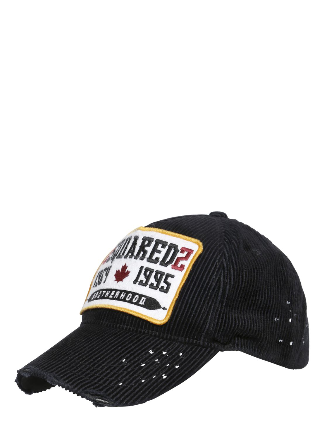dsquared 178 logo patch on corduroy baseball hat in black for