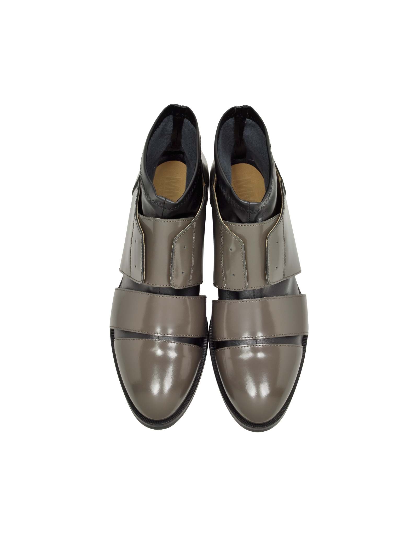 mm6 by maison martin margiela taupe and black leather cut