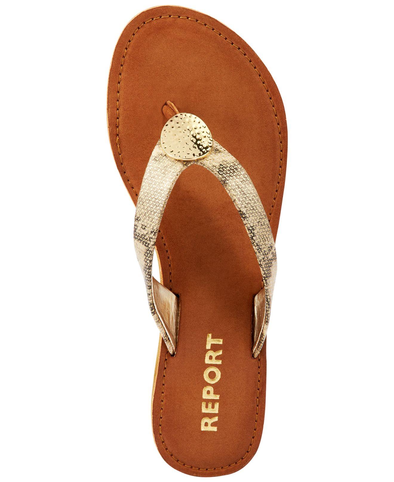 12e518294e81 Lyst - Report Shields Flat Thong Sandals in Metallic