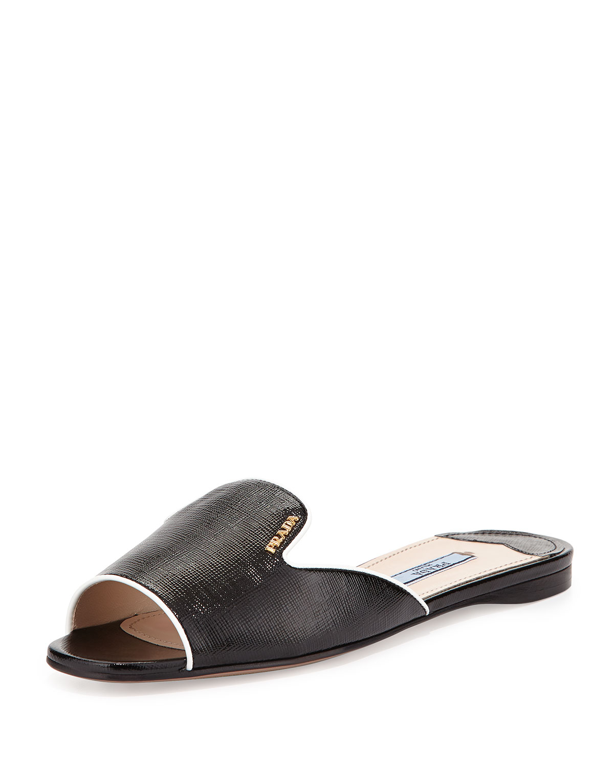 Lyst - Prada Notched-Vamp Patent-Leather Slides in Black 7c8ec3eb9c63