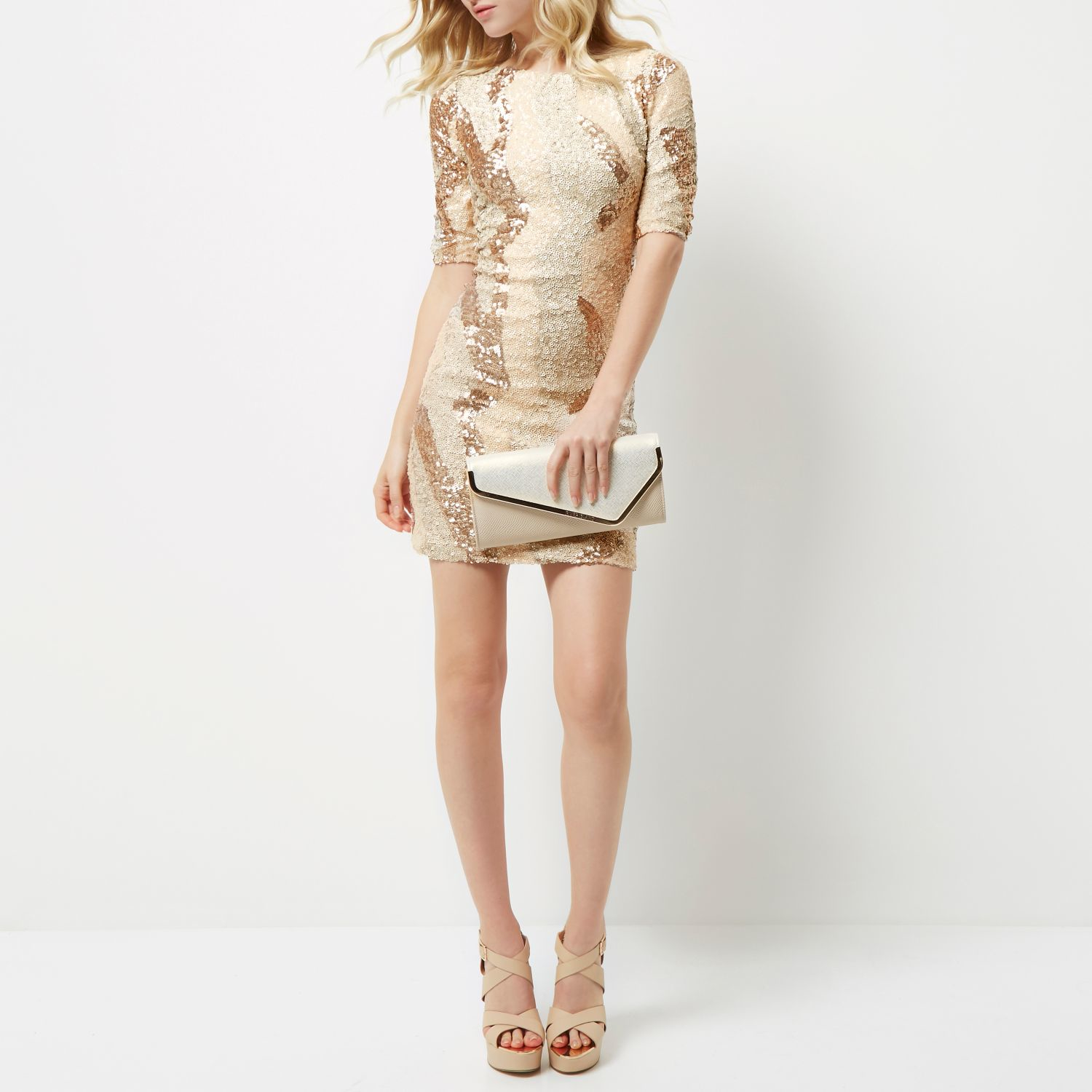 644d1c14 Black And Gold Sequin Dress River Island
